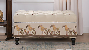 Jennifer Taylor Home Naomi Entryway Storage Bench, Ivory/Brown, rollover