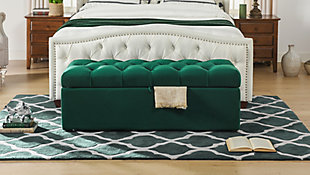 Jennifer Taylor Home Arlo Storage Bench, Evergreen, rollover