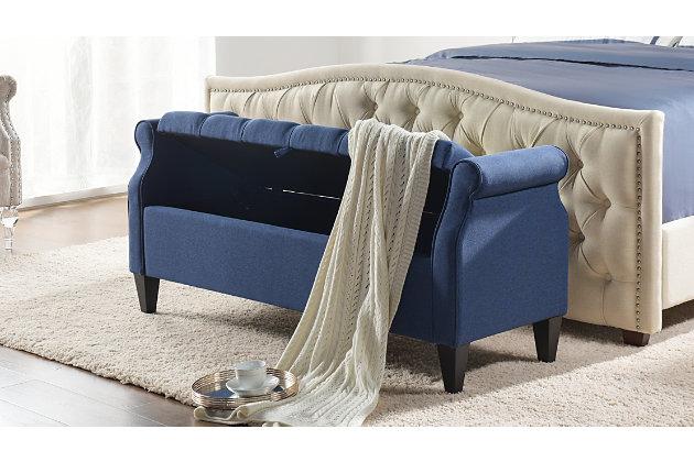 Jennifer Taylor Home Jacqueline Roll Arm Storage Bench, Dark Sapphire Blue, large