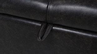 Jennifer Taylor Home Jacqueline Roll Arm Storage Bench, Vintage Black Brown, large