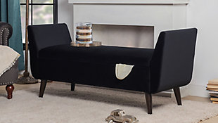 Jennifer Taylor Home Duff Entryway Storage Bench, Anthracite Black, rollover