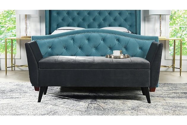 Jennifer Taylor Home Duff Entryway Storage Bench, Steel Gray, large