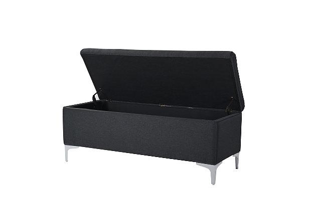 Jennifer Taylor Home Madelyn Storage Bench, Dark Gray, large