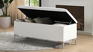 Jennifer Taylor Home Madelyn Storage Bench, Bright White, large