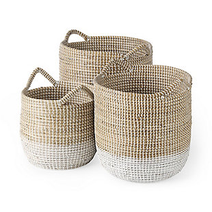 Mercana Maddie Dipped Seagrass Round Basket with Handles (Set of 3), Light Brown, large