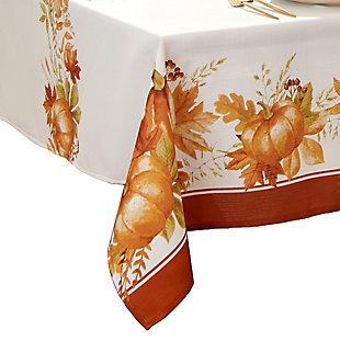 Autumn Pumpkin Grove Fall Rectangle Tablecloth, 60x144, Multi, large