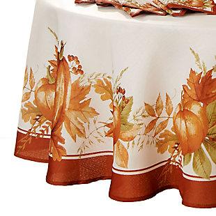 "Autumn Pumpkin Grove Fall Round Tablecloth, 70"" Round, Multi, large"