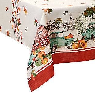 Farm Fresh Pumpkin Truck Fall Rectangle Tablecloth, 52x70, Multi, large