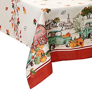 Farm Fresh Pumpkin Truck Fall Rectangle Tablecloth, 60x84, Multi, large