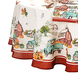 "Farm Fresh Pumpkin Truck Fall Round Tablecloth, 70"" Round, Multi, large"