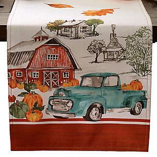 Farm Fresh Pumpkin Truck Fall Table Runner, 13x70, , large