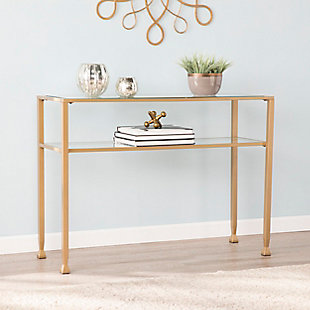 Southern Enterprises Arryn Gold Metal and Glass Console Table, , rollover