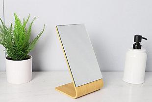 Home Basics Home Basics Angled Single Sided  Bamboo Desktop Mirror, Natural, , rollover