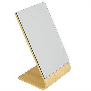 Home Basics Home Basics Angled Single Sided  Bamboo Desktop Mirror, Natural, , large