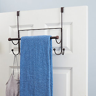 Home Basics Home Basics Over the Door Hook with Towel Bar, Oil-Rubbed Bronze, , rollover