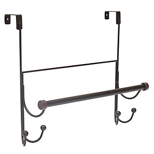 Home Basics Home Basics Over the Door Hook with Towel Bar, Oil-Rubbed Bronze, , large