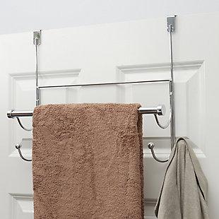 Home Basics Home Basics Over the Door Hook with Towel Bar, Chrome, , rollover