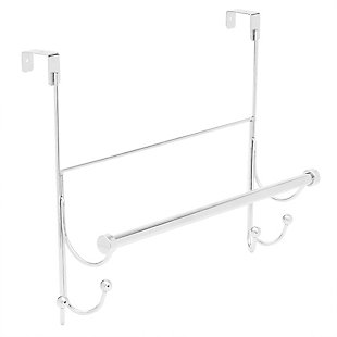 Home Basics Home Basics Over the Door Hook with Towel Bar, Chrome, , large