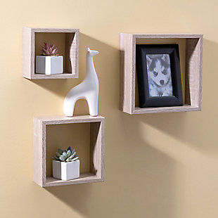 Home Basics 3 Piece Floating Wall Cubes, , rollover