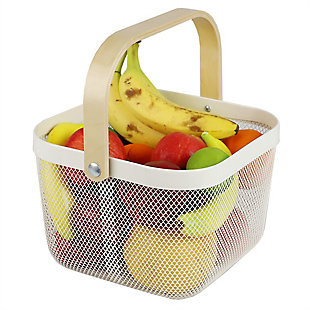 Home Basics Mesh Wire Basket with Wood Handle, , large