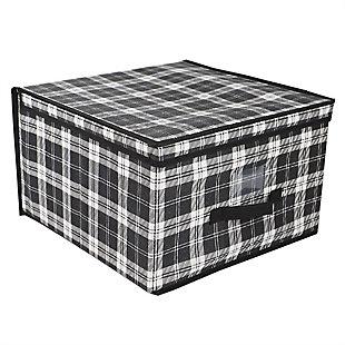 Home Basics Plaid Non-Woven Jumbo Storage Box with Label Window, , large