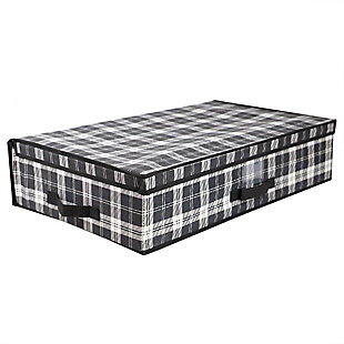 Home Basics Plaid Non-Woven Under the Bed Storage Box with Label Window, , large