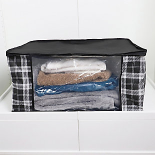 Home Basics Plaid Non-Woven Blanket Bag with See-through Window, , rollover