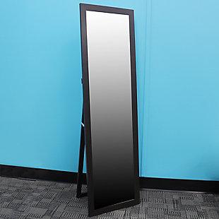 Home Basics Easel Back Full Length Mirror, Mahogany, rollover