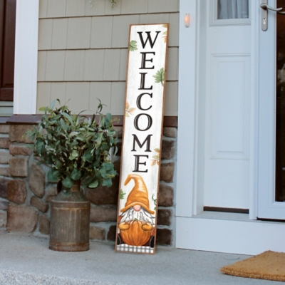 My Word! Welcome Porch Board with Gnome Holding Pumpkin, , large