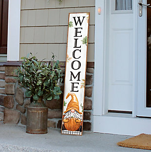 My Word! Welcome Porch Board with Gnome Holding Pumpkin, , rollover