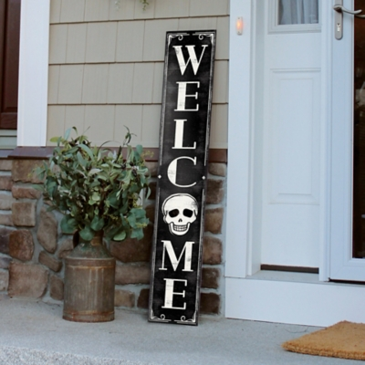 My Word! Welcome Porch Board with Skull, , large