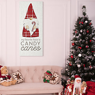 Stupell Candy Canes Phrase Red Plaid Christmas Gnome, 20 x 48, Canvas Wall Art, Off White, rollover