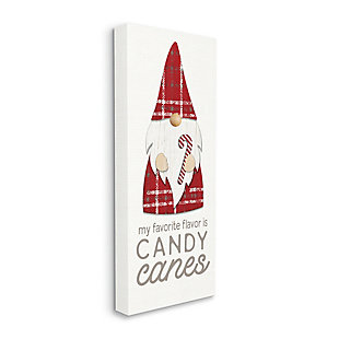 Stupell Candy Canes Phrase Red Plaid Christmas Gnome, 20 x 48, Canvas Wall Art, Off White, large