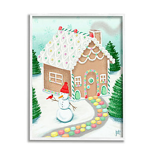Stupell Industries  Playful Gingerbread House Christmas Landscape Happy Snowman, 24 x 30, Framed Wall Art, Blue, large