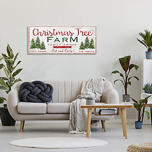 Stupell Industries  Vintage Christmas Tree Farm Sign Green Pine Forest, 20 x 48, Canvas Wall Art, Red, rollover