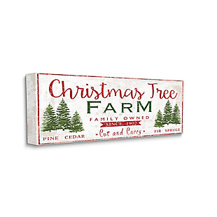 Stupell Industries  Vintage Christmas Tree Farm Sign Green Pine Forest, 20 x 48, Canvas Wall Art, Red, large