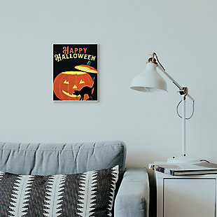 Stupell Industries  Happy Halloween Pumpkin Cat Black Orange Word Design, 10 x 15, Wood Wall Art, , rollover