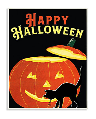 Stupell Industries  Happy Halloween Pumpkin Cat Black Orange Word Design, 10 x 15, Wood Wall Art, , large