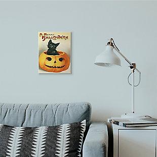 Stupell Industries  A Merry Halloween Black Cat Pumpkin Seasonal Holiday Design, 10 x 15, Wood Wall Art, , rollover