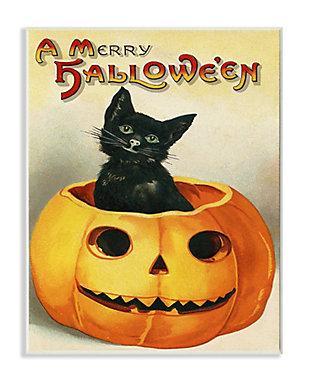 Stupell Industries  A Merry Halloween Black Cat Pumpkin Seasonal Holiday Design, 10 x 15, Wood Wall Art, , large