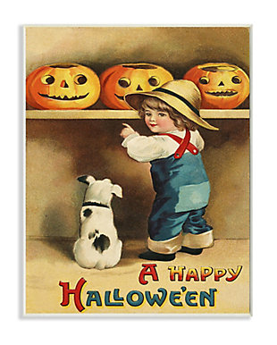 Stupell Industries  A Happy Halloween Child and Dog Seasonal Holiday Design, 10 x 15, Wood Wall Art, , large