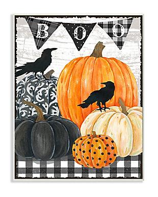 Stupell Industries  Whimsical Halloween Scene Farm Table Pumpkin Crows, 10 x 15, Wood Wall Art, , large