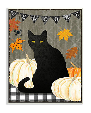 Stupell Industries  Halloween Black Cat Welcome Sign Autumn Farmhouse Charm, 10 x 15, Wood Wall Art, , large