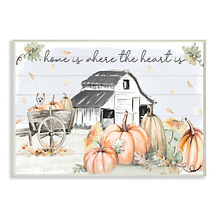 Stupell Industries  Autumn Farm Harvest Home and Heart Phrase, 10 x 15, Wood Wall Art, , large