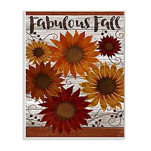 Stupell Industries  Fabulous Fall Phrase Rustic Harvest Sunflowers, 10 x 15, Wood Wall Art, , large