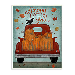 Stupell Industries  Happy Fall Y'all Autumn Harvest Red Truck, 10 x 15, Wood Wall Art, , large