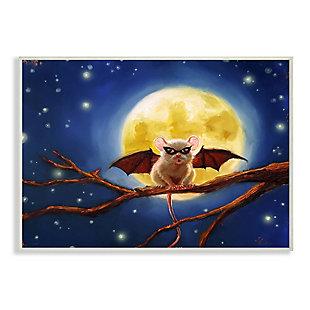 Stupell Industries  Halloween Mouse Animal Full Moon Bat Costume, 10 x 15, Wood Wall Art, , large