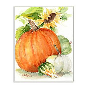 Stupell Industries  Pumpkin Sunflower and Gourd Fall Farm Harvest , 10 x 15, Wood Wall Art, , large