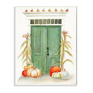 Stupell Industries  Entryway Door Architecture Autumn Harvest Pumpkins , 10 x 15, Wood Wall Art, , large