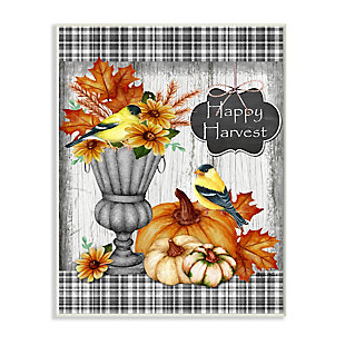 Stupell Industries  Happy Harvest Charming Autumn Birds and Gourds, 10 x 15, Wood Wall Art, , large